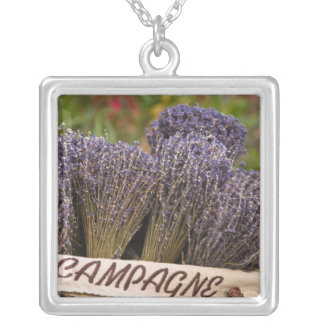 Bunches of lavender for sale, Vence, Provence, Square Pendant Necklace