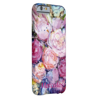 Bunches of Pink Flowers and Pink Bird Your Name Barely There iPhone 6 Case