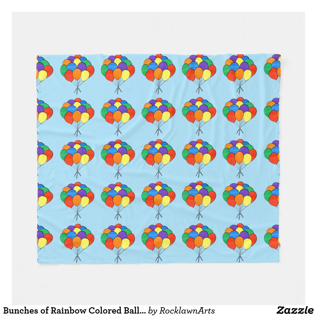 Bunches of Rainbow Colored Balloons Fleece Blanket