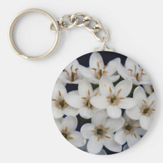 Bunches of white flowers basic round button keychain