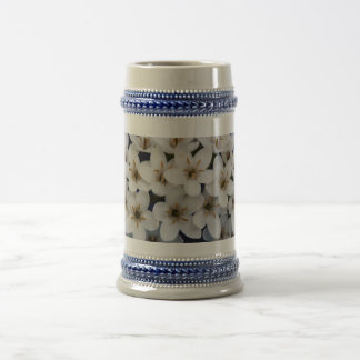 Bunches of white flowers beer stein