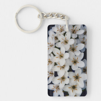 Bunches of white flowers Double-Sided rectangular acrylic keychain