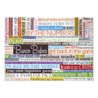 Bunco 5x7 Paper Invitation Card
