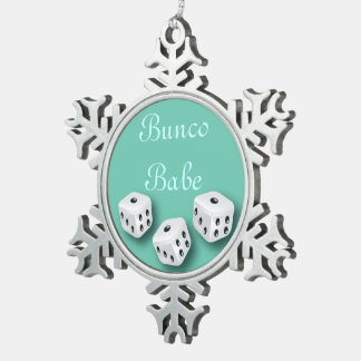 Bunco Babe With Dice Christmas Snowflake Snowflake Pewter Christmas Ornament
