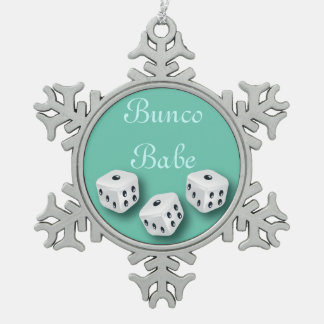 Bunco Babe With Dice Christmas Snowflake Snowflake Pewter Christmas Ornament