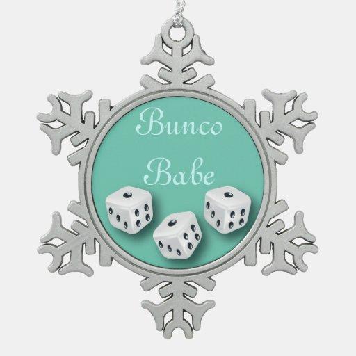 Bunco Babe With Dice Christmas Snowflake Snowflake Pewter