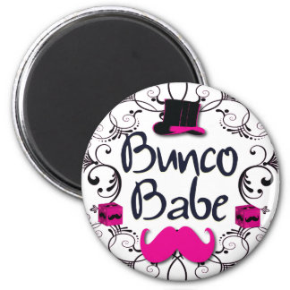 Bunco Babe with Pink Top Hat and Pink Mustache 2 Inch Round Magnet