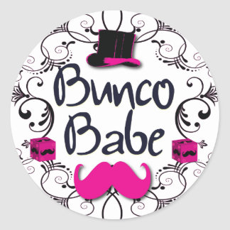 Bunco Babe with Pink Top Hat and Pink Mustache Sticker