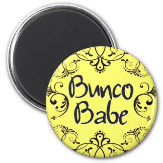 Bunco Babe with Swirls Button 2 Inch Round Magnet