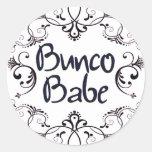 Bunco Babe with Swirls Button Round Stickers
