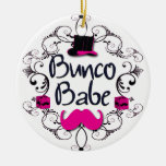 Bunco Babe with Swirls, Mustache and Top Hat Double-Sided Ceramic Round Christmas Ornament