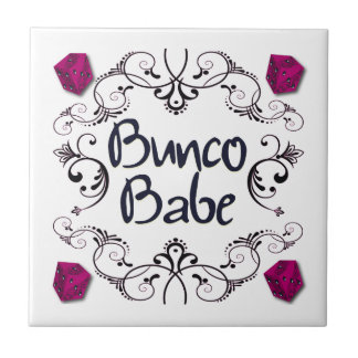 Bunco Babe with Swirls Small Square Tile