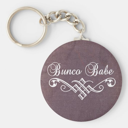 bunco babe with white lettering and purple leather keychain