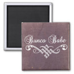 bunco babe with white lettering and purple leather 2 inch square magnet