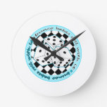 Bunco Babes Roll With It - Blue Round Wallclocks