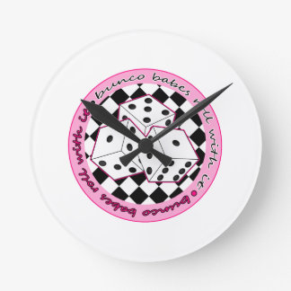 Bunco Babes Roll With It - Pink Round Clock