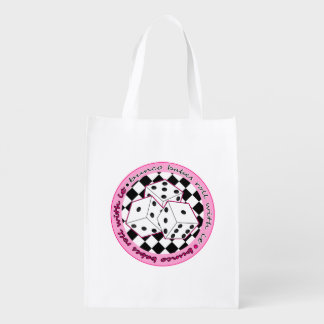 Bunco Babes Roll With It - Pink Reusable Grocery Bag