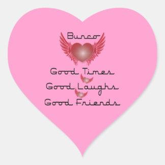 Bunco - buenas épocas, risas, amigos - corazón pegatina en forma de corazón