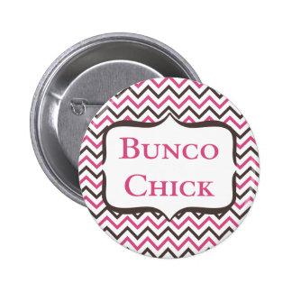 Bunco Chick With Chevron Design Button