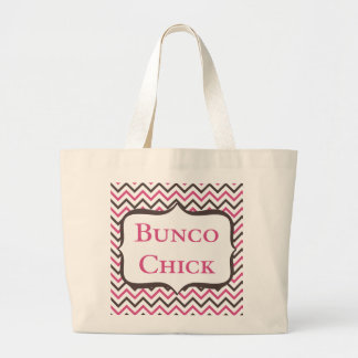 Bunco Chick With Chevron Design Large Tote Bag
