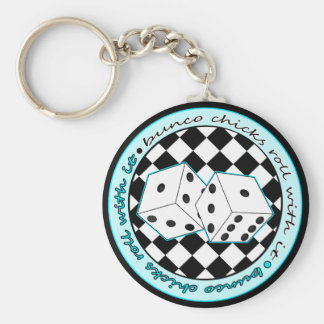Bunco Chicks Roll With It - Blue Keychain