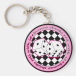 Bunco Chicks Roll With It - Pink Basic Round Button Keychain