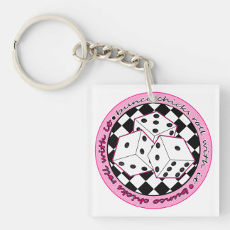 Bunco Chicks Roll With It - Pink Keychain