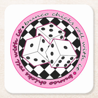 Bunco Chicks Roll With It - Pink Square Paper Coaster