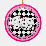 Bunco Chicks Roll With It Pink - Two Sided Christmas Ornament