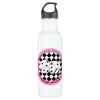 Bunco Chicks Roll With It - Pink Water Bottle