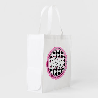 Bunco Chicks Roll With It - Pink Grocery Bags