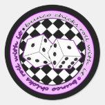 Bunco Chicks Roll With It - Purple Classic Round Sticker