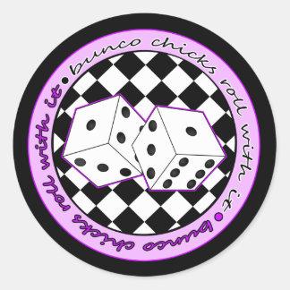 Bunco Chicks Roll With It - Purple Round Sticker