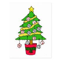 Bunco Dice Christmas tree Postcard