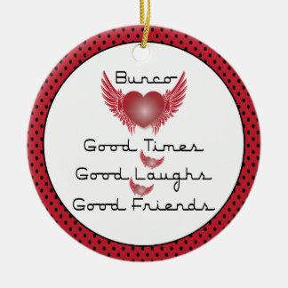 Bunco - Good Times, Laughs, Friends - Retro Heart Ceramic Ornament