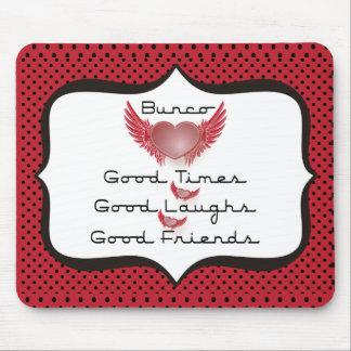 Bunco - Good Times, Laughs, Friends - Retro Heart Mouse Pad