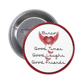 Bunco - Good Times, Laughs, Friends - Retro Heart Pinback Button