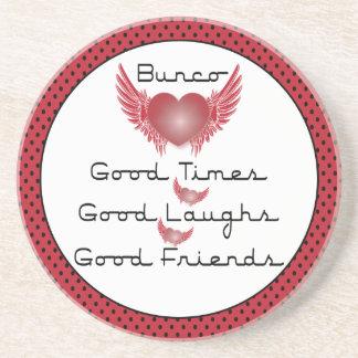 Bunco - Good Times, Laughs, Friends - Retro Heart Sandstone Coaster