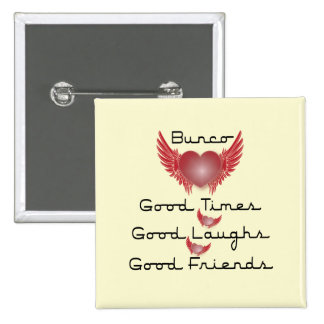 bunco good times with heart and wings pin