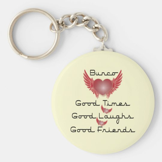 bunco good times with heart and wings keychain