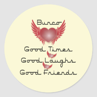bunco good times with heart and wings sticker