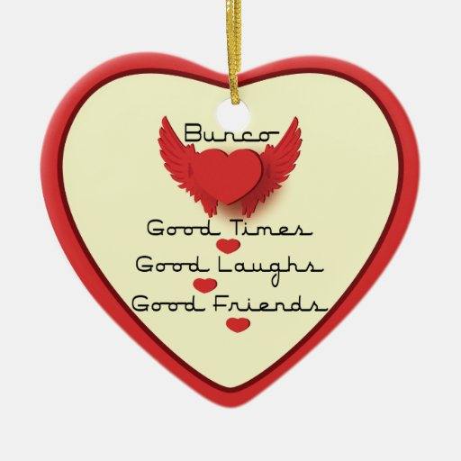 bunco good times with heart christmas ornaments