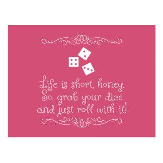 Bunco greeting card - Life is short, honey. Postcard