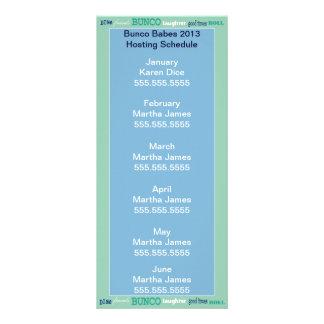 Bunco Hosting Schedule, Calendar or Roster Rack Cards