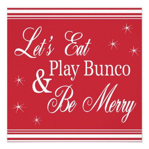 Bunco invita - comamos, juegue Bunco y sea feliz Comunicado