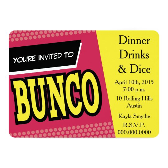 Bunco Invite Zazzlecom