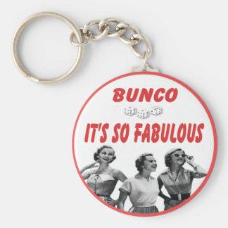 bunco it's so fabulous basic round button keychain
