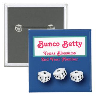 Bunco Name Tag 2 Inch Square Button