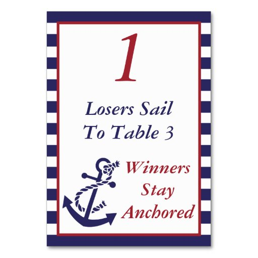 Bunco Nautical Anchor Theme 1 Table Cards Zazzle