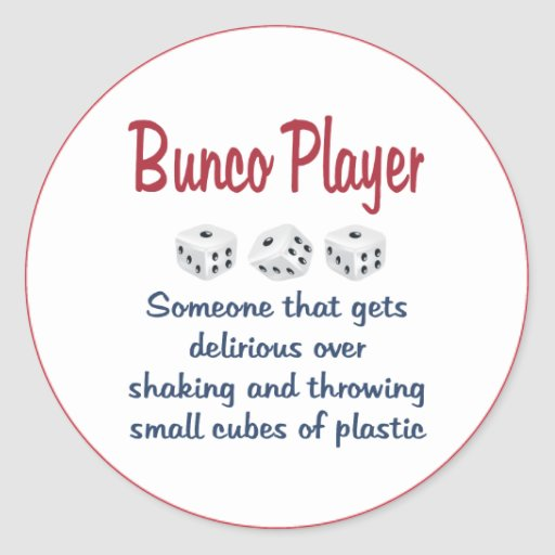 Bunco Player Definition Classic Round Sticker Zazzle